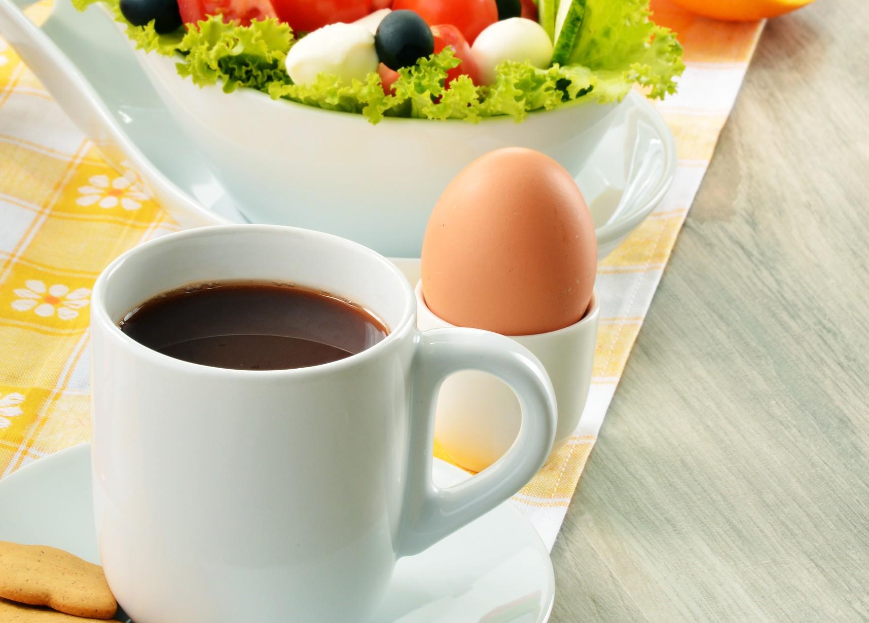 Coffee Eggs and Salad